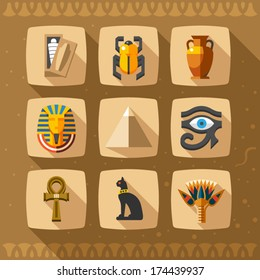 Egypt icons and design elements isolated. Collection of ancient Egypt icons - pyramids, scarab, cat, vase, mummy, amulet, pharaoh, ornament.