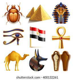 Egypt icons detailed photo realistic vector set