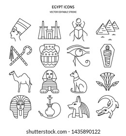 Egypt icons set in thin line style. Traditional symbols including pharaoh, pyramids, sphinx. Vector illustration with editable stroke.