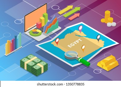 egypt isometric business economy growth country with map and finance condition - vector