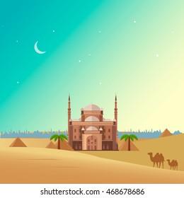 Egypt Landscape. Flat design vector. Egypt desert nature, piramids, camel, palm tree, historical architecture building. Travel to Egypt. Design elements vector illustration cartoon style.