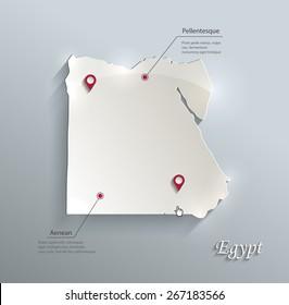 Egypt map blue white card paper 3D vector infographics vector