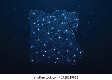 Egypt Map Connection. Abstract Digital Technology 3D Mesh Polygonal Network Line, Design Sphere, Dot and Structure on Dark Background. Vector Illustration EPS10.