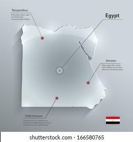 Egypt map flag glass card paper 3D vector