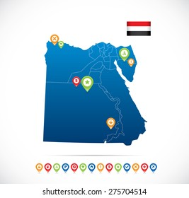 Egypt Map with Flag and Navigation Icons