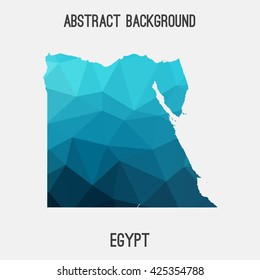 Egypt map in geometric polygonal style.Abstract tessellation,modern design background. Vector illustration EPS8