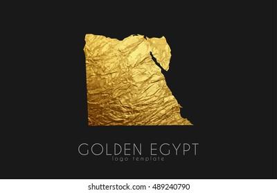 Egypt map. Golden Egypt logo. Creative Egypt logo design
