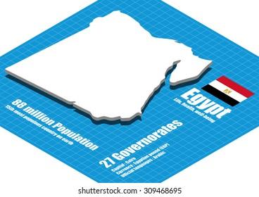 Egypt map vector three dimensional
