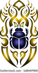 egypt mystic scarab symbol gradient texture gold blue tattoo vector design art abstract graphic illustration drawing decoration decorative pattern