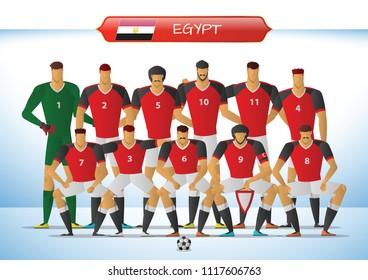 Egypt National Football Team for International Tournament. Vector illustration.