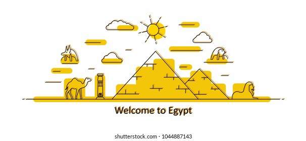 Egypt panorama. Egypt vector illustration in outline style with buildings and history architecture. Welcome to Egypt.