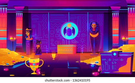 Egypt pharaoh tomb, treasury full of gold coins, precious gems and ancient artifacts cartoon vector in neon colors. Pharaoh sarcophagus, cat and queen statuettes, dung- beetle bas-relief illustration