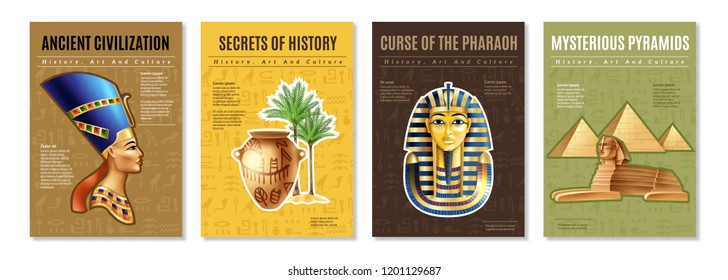 Egypt posters set with images of pharaoh tomb mysterious pyramid and ancient artifacts cartoon vector illustration