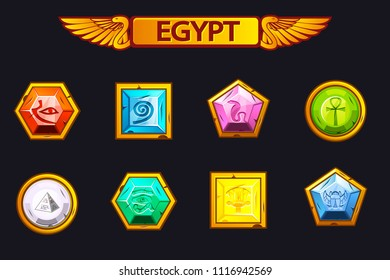 Egypt precious and multi-colored vector stones, game assets icons