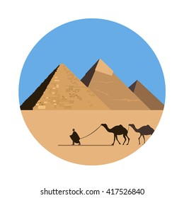 Egypt pyramid icon isolated on white background. Vector illustration for famous desert building design. Travel ancient postcard. Cairo giza stone landmark symbol. Touristic egyptian religion temple