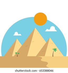 Egypt pyramids with palms in desert flat design. Travel concept famous