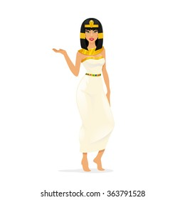 Egypt Queen Cleopatra. Woman portrait, attractive sexy person. Vector illustration