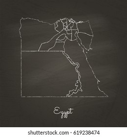 Egypt region map: hand drawn with white chalk on school blackboard texture. Detailed map of Egypt regions. Vector illustration.