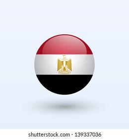 Egypt Round Flag. Vector illustration.