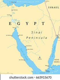 Egypt, Sinai Peninsula political map. Situated between Mediterranean Sea and Red Sea. Land bridge between Asia and Africa. Suez Canal, Gulf of Suez and Aqaba. Illustration. English labeling. Vector.