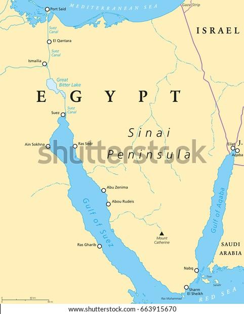 Egypt Sinai Peninsula Political Map Situated Stock Vector ...