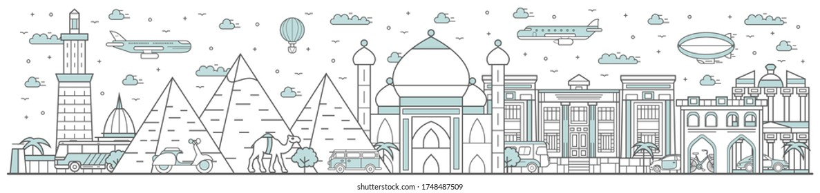 Egypt skyline. Line cityscape with famous building landmarks horizontal panorama. Egypt skyline with historical street city sights, Pyramids of Giza. City constructions outline, architecture concept