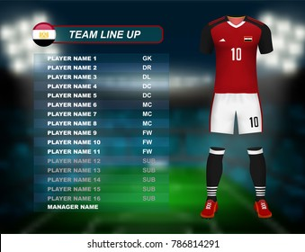 Egypt soccer jersey kit with team line up board on soccer stadium and crowd fan with spot light backdrop on night time. Concept for Africa result background in vector illustrative