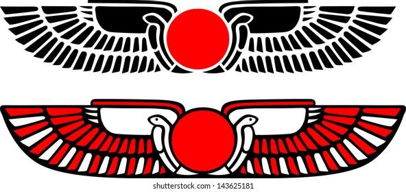 Egypt Sun Disk, Wings, Re, Cobra, Horus - Vector Image