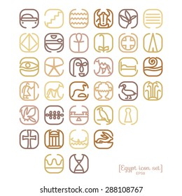 Egypt symbol icon set with a lot of symbols such as pyramides, sights, skorabey, pharaons, ancient characters
