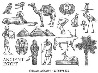 Egypt symbols and landmarks vector sketches. Great Pyramids and Sphinx, Ankh and bull, mummy and dog, cat and camel. Tutankhamun and scarab, eye of Horus, Anubis and Nefertiti, date palm and ibis