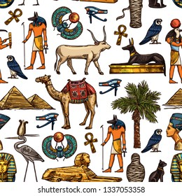 Egypt travel destination and religion symbols seamless pattern, Egyptian Gods. Nefertiti and Ra, Anubis and pyramids, mummy and sphinx. Vector Pharaoh and cat, dog and scarab, bull and stork