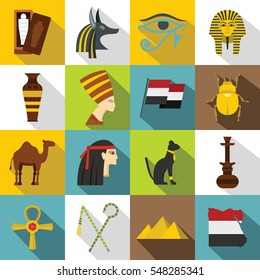 Egypt travel items icons set. Flat illustration of 16 Egypt travel items vector icons for web