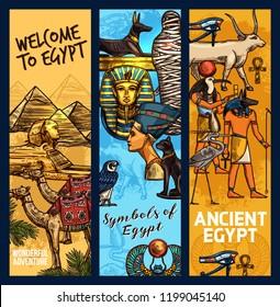 Egypt travel landmarks and ancient religion culture. Vector sketch Egyptian Cheops pharaoh pyramid, camel, sphinx or Tutankhamen mummy and Nefertiti princess, Anubis or Amon Ra deity