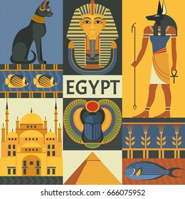 Egypt travel poster concept. Vector illustration with Egyptian culture and nature images, including pyramid, Anubis, Bastet, Tutankhamen, scarab and mosque. Isolated on background.
