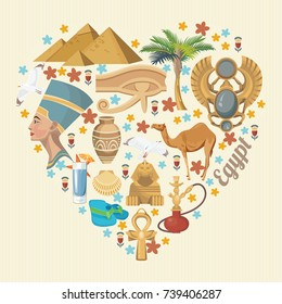 Egypt travel poster. Vector vacation banner. Background with ancient egyptian icons in flat modern style.