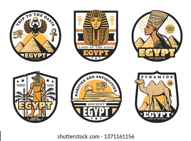 Egypt travel vector icons with ancient egyptian religion and culture symbols. Sphinx statue, pharaoh pyramids and tutankhamen sculpture, Anubis God, ankh sign and horus eye, desert camel and palm