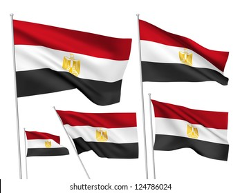 Egypt vector flags set. 5 wavy 3D cloth pennants fluttering on the wind. EPS 8 created using gradient meshes isolated on white background. Five fabric flagstaff design elements from world collection