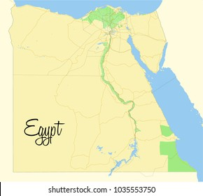 Egypt. Vector map.  Geographic map detailed with the designation of roads, parks, sea.