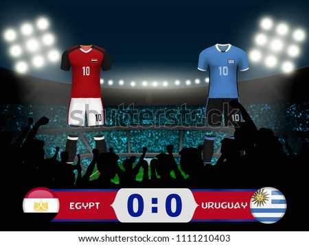 acffd388609 Concept design for template of 3D soccer uniform with scoreboard and  background of crowd fans cheer team at soccer stadium in vector illustration  - Vector