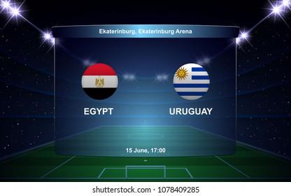 Egypt vs Uruguay, football scoreboard broadcast graphic soccer template