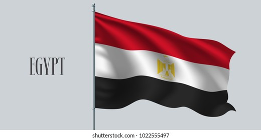 Egypt waving flag on flagpole vector illustration. Red white element of Egyptian wavy realistic flag as a symbol of country
