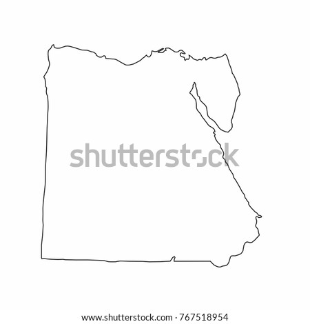 Egypt World Map Country Outline Graphic Stock Vector Royalty Free
