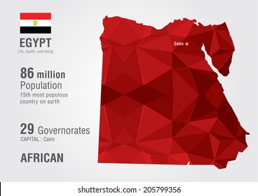 Egypt world map with a pixel diamond texture. World Geography.