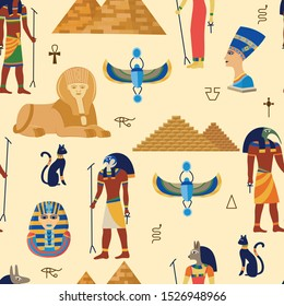 Egyptian ancient gods, religious symbols and pyramides seamless pattern cartoon vector illustration. Egypt culture travel and history symbols and elements background.
