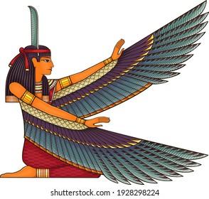Egyptian ancient symbol.Religion icon.Egypt deiteis.Culture.Design element.Isis.