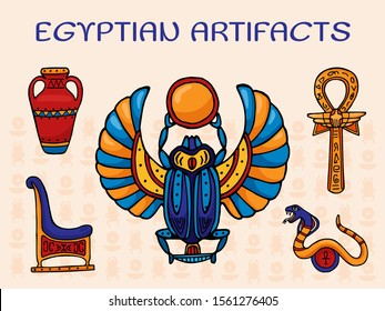 Egyptian archaeological artifacts vector illustration. A set of sacred religious symbols and decorations of ancient Egypt scarab, vase, cross with Ankh ring, snake and throne.
