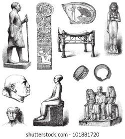 Egyptian art / vintage illustration from Brockhaus Konversations-Lexikon 1908