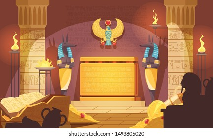 Egyptian burial chamber with god of death mummification figure guarding tomb food offerings dark silhouettes vector illustration