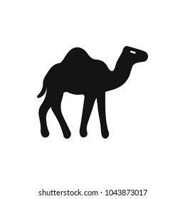 Egyptian camel icon in silhouette style. Egypt camel object vector illustration isolated on white background. Element of Egyptian culture and tradition
