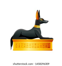 Egyptian cat. Bastet goddess. Black cat with golden necklace statuette from ancient Egypt art. Cartoon 3d realistic icon for logo design. Old style vector illustration isolated on white background.